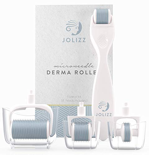 Jolizz Derma Roller Microdermabrasion Tool with FOUR Titanium Replaceable 0.25mm Microneedling Heads :1 Small 240 Needles, 2 Medium 600 Needles and 1 Large 1200 Needles - Women Face & Skin Care (Dermabrasion Roller)