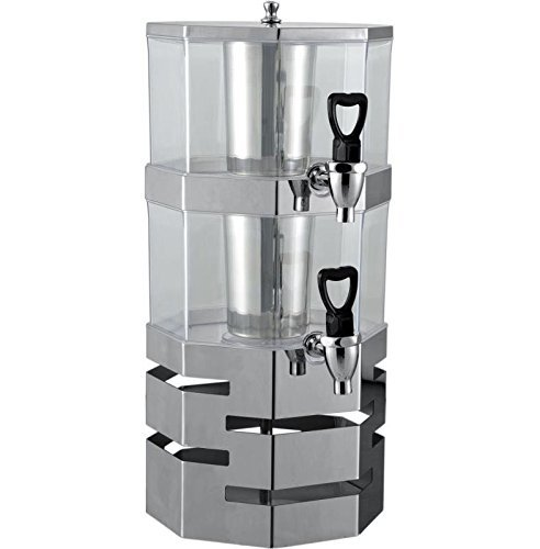 2 Tier Stack-able Juice Drink Dispenser Heavy Duty Stainless Steel Base & rings with center ice core 3.5 liter per tier Stackable (2 Tier) - Ice Core Center