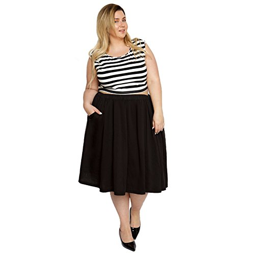 Astra Signature Women's Plus Size Elastic Waist Pleated Chiffon Midi Circle Skirt with (Chiffon Circle Skirt)