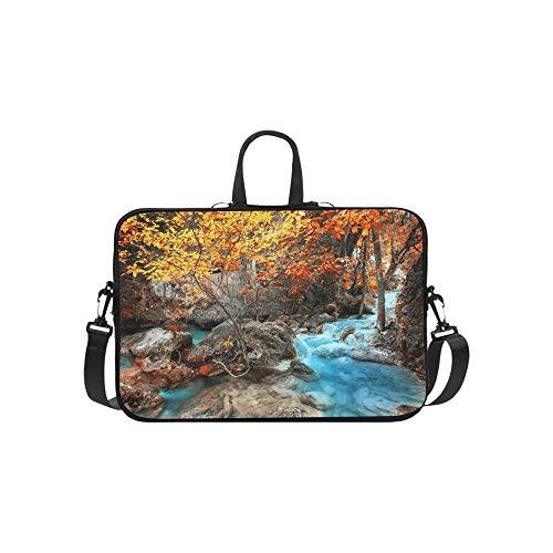 1985 Landscapes - Jungle Landscape Flowing Turquoise Water Erawan Briefcase Laptop Bag Messenger Shoulder Work Bag Crossbody Handbag for Business Travelling
