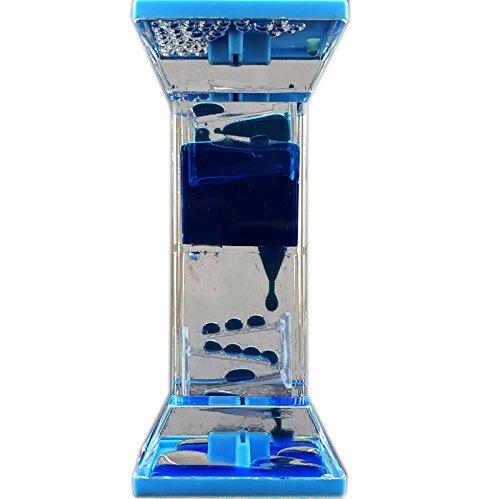 adorox liquid bubble drop motion wheel zig zag desk toy (blue)