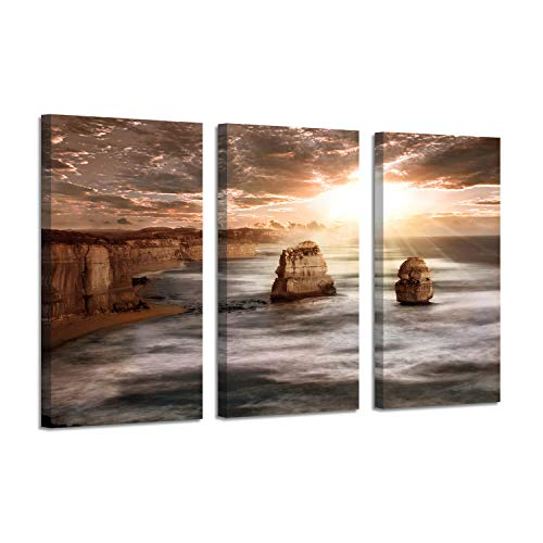 (Beach Artwork Seashore Picture Print: Rocks & White Waves Wall Art on Canvas for Decor)
