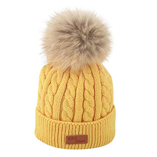 Ankola Toddler Baby Winter Warm Knit Hat Infant Toddler Kid Crochet Hairball Beanie Cap (2-8 Years, Yellow)