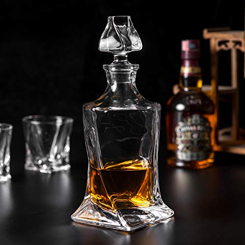 Premium Crystal Whiskey Decanter Set, KANARS Hand Made Liquor Decanter with 6 Old Fashioned Glasses for Scotch, Bourbon or Whisky, Unique Gift for Men