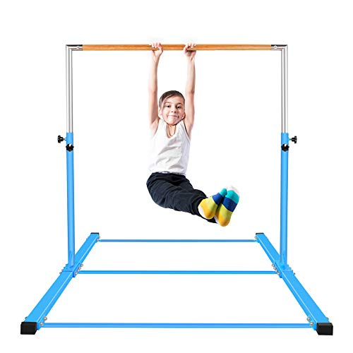 gymmatsdirect Gymnastics Junior Training Bar - Adjustable Horizontal Kip Bar Kids, 4.2 Wide 6 Long 36-59 High, Blue