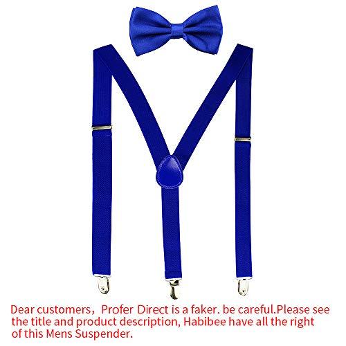 Blue Royal Bow Tie (HABIBEE Solid Color Mens Suspender Y Shape with Strong Clips Adjustable Braces (Royal Blue))