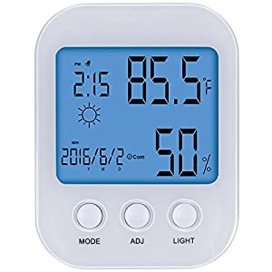 Keten Temperature Humidity Monitor Sensor, Indoor Wireless Thermometer Hygrometer Gauge Meter Tabletop Standing / Hanging Install with 3.6 inch LCD Display for Home, Office and Greenhouse (White)