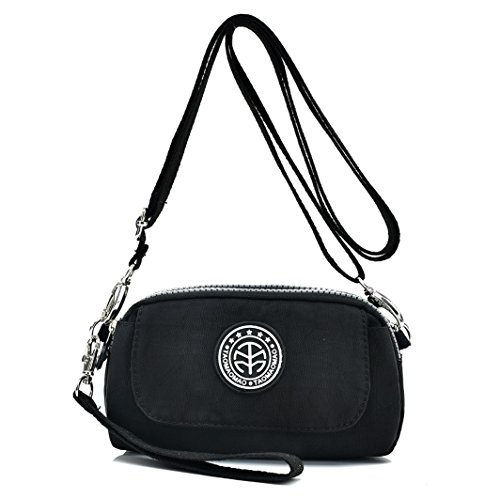 Women's Casual Water-resistant Nylon Wristlet Purse 3 Layers Zipper Clutch Wallet Handbag Small Cell Phone Crossbody Shoulder Bag (Black) by Big Mango