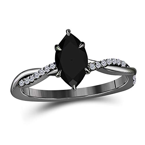 DreamJewels 1.20 Ct Marquise Shape Black CZ Diamond 14K Black Gold Finish Swirl Style Engagement Ring for Women's Girlfriend & Birthday Gift