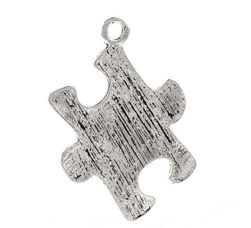 20PCs Silver Tone Puzzle Jigsaw Charm Pendants 23x17mm(7/8