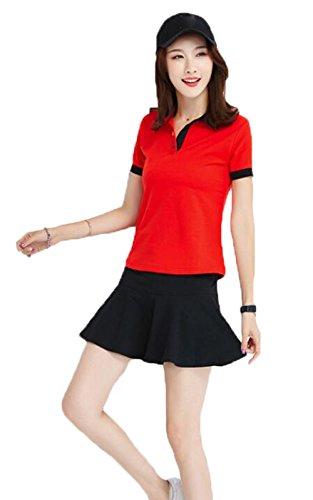 もし暗記する有益な(ジュンィ) レディース スポーツウェア テニスウェア セットアップ ゴルフウェア 上下セット ポロシャツ ミニスカート 無地 可愛い