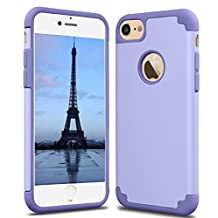 CaseHQ iPhone 6S plus Case,iPhone 6 plus Case,slim Dual Layer Silicone Rubber PC Protective Case Fit for iPhone 6 (2014)/6S 5.5 inch (2015) Hybrid Hard Back Cover and Soft Silicone-light purple