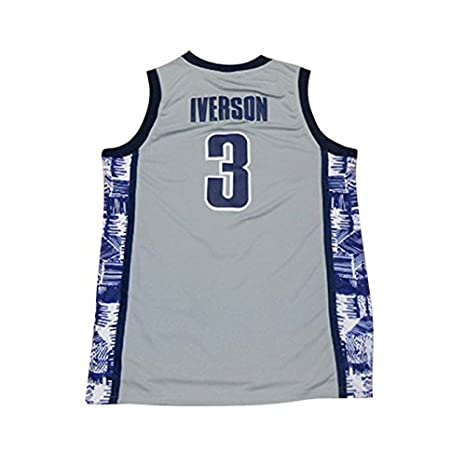 208b977f464 Amazon.com : NEW 3 Iverson Mens College Basketball Jerseys Gray : Sports &  Outdoors