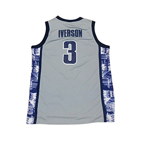 NEW 3 Iverson Mens College Basketball Jerseys Gray S