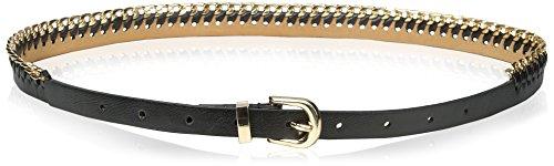 elise m. Women's Carla Vegan Chain Detail Waist Belt, Black, Small/Medium (Belts Womens Vegan)