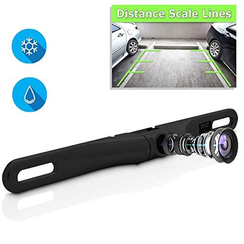 License Plate Rear View Camera - Built-in Distance Scale Lines Backup Parking/Reverse Assist Waterproof Adjustable Slim Bar Cam w/ 420 TVL Resolution & RCA Output Zinc Black Chrome - Pyle PLCM18BC