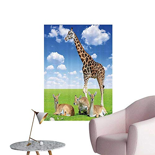 - Wall Stickers for Living Room Antelope and Giraffe Green Meadow Zoo African Animals in Tropical Atmosphere Vinyl Wall Stickers Print,12