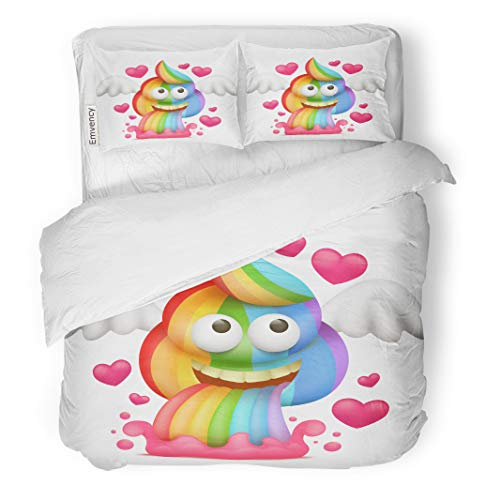 Semtomn Decor Duvet Cover Set King Size Colorful Animal Cartoon Unicorn Rainbow Vomiting Poo Character Cute 3 Piece Brushed Microfiber Fabric Print Bedding Set Cover ()