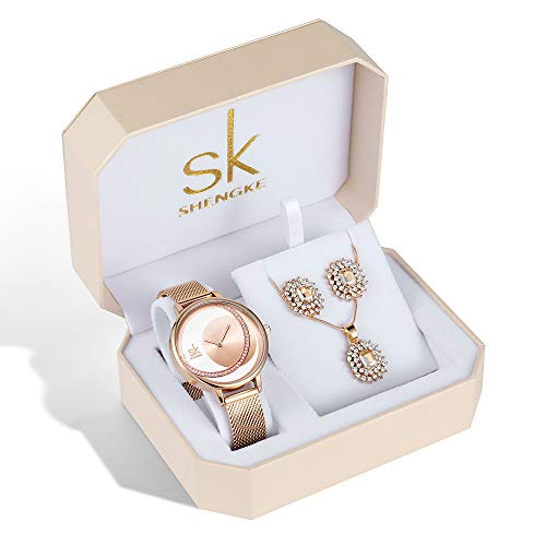 SK Necklace Watches Earring Rose Gold and Gold Jewelry Set Fashion Gifts for Women Accessories on Sale (K0088-RG-SET) from sk SHENGKE