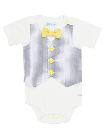 RuggedButts Baby/Toddler Boys Baby Blue Seersucker Vest One-Piece - 3-6m