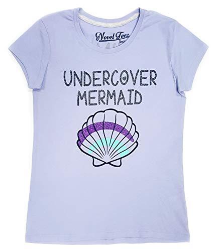 f1f91cf93fba7 Novel Teez Designs - Girls' Undercover Mermaid T-Shirt, Lilac (M)