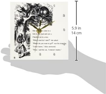 3dRose dc_193782_1 Which Road Do I Take Cheshire Cat Alice in Wonderland John Tenniel Desk Clock, 6 by 6