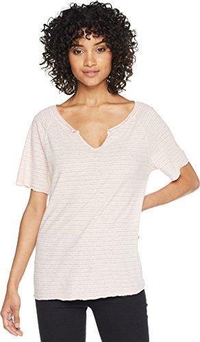 (Michael Stars Women's Linen Stripe Short Sleeve Split Neck Tee Tickle One Size)