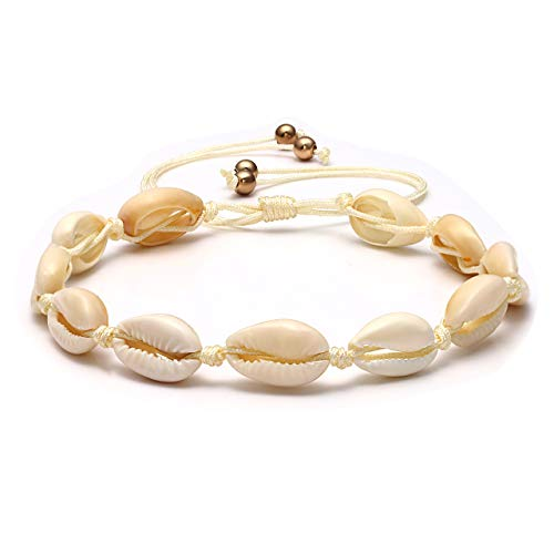 MOLOCH Shell Anklets for Women Boho Natural Cowrie Seashell Beads Ankle Bracelets Handmade Adjustable Summer Foot Jewelry (White Shell)