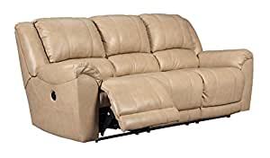 Ashley Furniture Signature Design - Yancy Leather Upholstered Reclining Sofa - Power Reclining - Contemporary - Galaxy