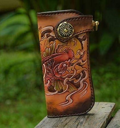7cb3e68a2 Amazon.com : Long Wallet, Sheridan Style, Wallet Skull, Biker Wallet,  Leather Wallet, 3D Genuine Leather Wallet, Hand Carved, Leather Carving, ...
