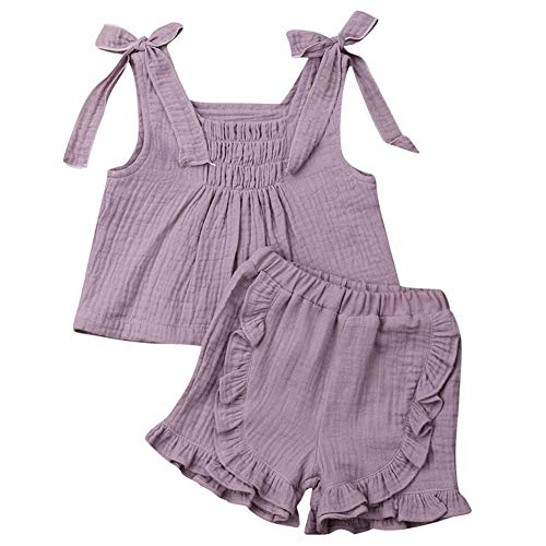 Baby Girls Cotton Linen Blend Straps Top and Bubble Shorts Ruffle Outfit Set (1T, Purple) ()