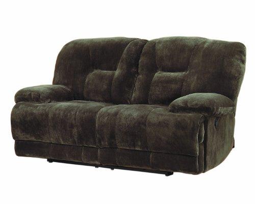 Homelegance 9723-2 Upholstered Double Reclining Love Seat, Dark Brown, Textured with Plush Microfiber (Dark Chocolate Loveseat)