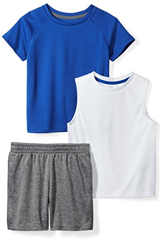 - Amazon Brand - Spotted Zebra Boys' Toddler Active T-Shirt, Tank and Shorts Set, White/Blue, 4T