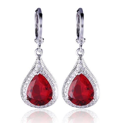 GULICX Silver Tone Ruby Color Red CZ Rhinestone Elegant leverback Elegant Dangle Earrings Red