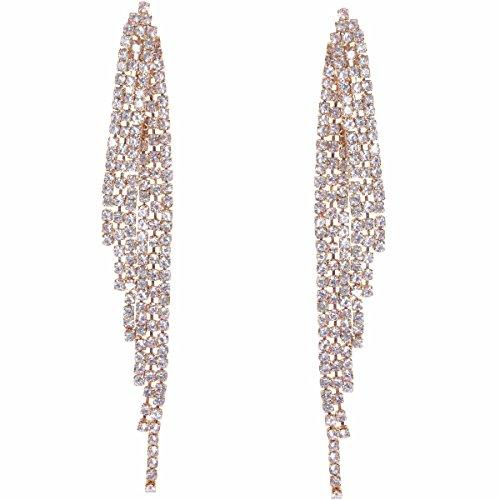 Humble Chic Darling Waterfall Tassel Earrings CZ Simulated Diamond Statement Studs, Gold-Tone Angel Wing