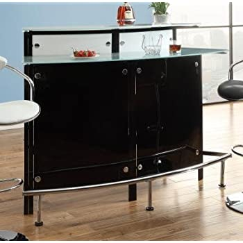Coaster Home Furnishings Bar Units And Bar Tables Arched Black Bar Table  With Frosted Glass Counter