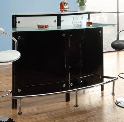 (Arched 1-shelf Bar Unit with Glass Counter Tops Glossy Black, Chrome, Frosted and)