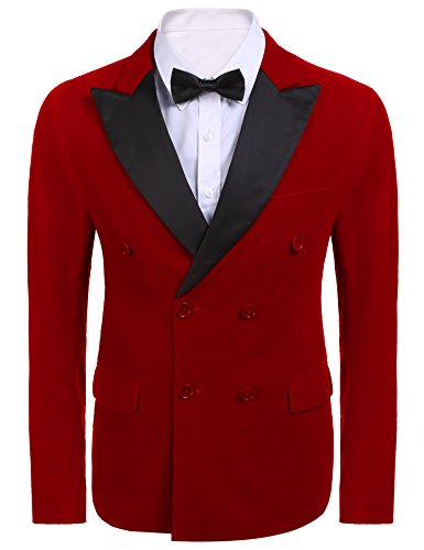 Jinidu Mens Suit Peaked Lapel Double Breasted Tuxedo Slim Fit Evening Dinner Blazer Jacket,Red,Medium (Peaked Lapel Jacket)