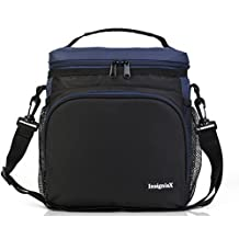 "Insulated Lunch Bag S2: InsigniaX Unisex Adult Lunch Box For Work Men Women Boys Girls With Adjustable Strap, Front Pocket, 2 Side Pockets. Size H: 10"" x W: 5.1"" x L: 9.2"" (Large, Navy Blue)"