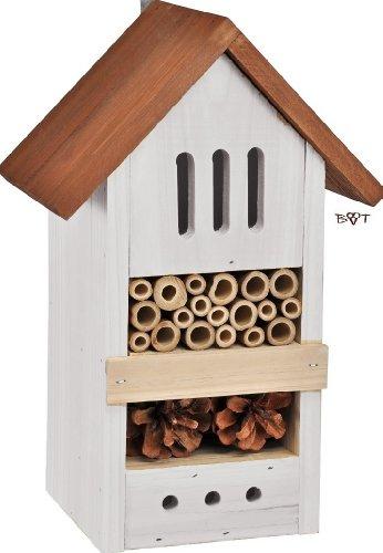 Insektenhotel BD hell grau weiss silbergrau Überwinterung Schmetterlingshaus Nest als Ergänzung zum Meisen Nistkasten Meisenkasten oder zum Vogelhaus Vogelfutterhaus Futterstation für Vögel, als umweltfreundliches Mittel gegen Blattläuse, ideal für die Beobachtung von Insekten Schmetterlingen Marienkäfer für die ökologische Blattlausbekämpfung, ein toller Insektenkasten - Insektenhaus - Schmetterlingskasten - Marienkäferkasten - Schmetterlingshaus - Gartendeko - Gartendekoration