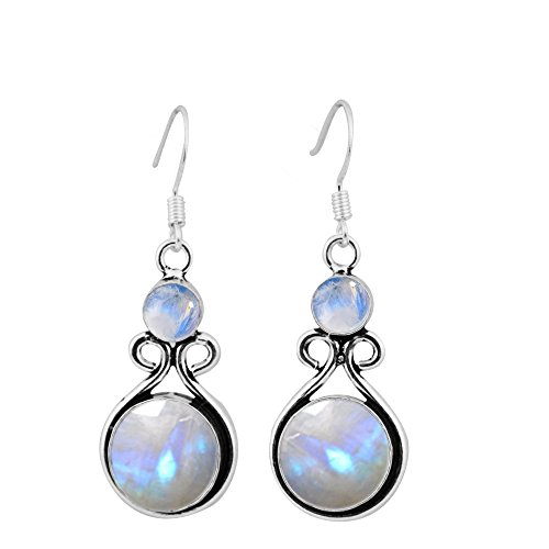 15.00ctw, Genuine Rainbow Moonstone & 925 Silver Plated Dangle Earrings Made By Sterling Silver Jewelry