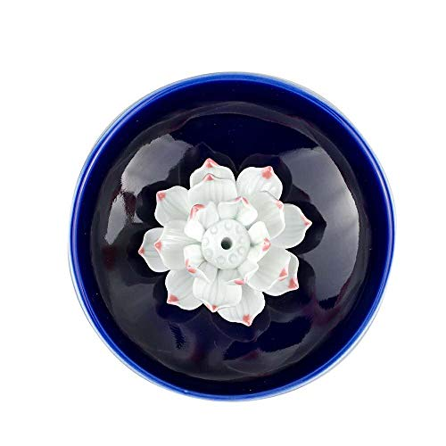 (Corciosy Incense Stick Burner Holder-Censer Ceramic Handmade Artistic Lotus Flower Incense Burner Bowl-Buddhist Water Lily Single Hole Incense Ash Catcher Tray IN-013(Style2))