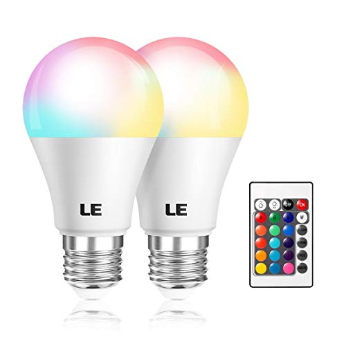 (LE A19 E26 LED Light Bulbs, 40 Watt Incandescent Equivalent, RGBW, Dimmable, 6W 470lm, 4 Modes Color Changing with Remote Control, for Home, Living Room, Bedroom and More, Pack of 2)