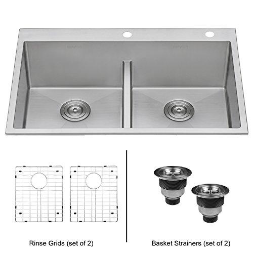 Ruvati 33-inch Drop-in Low-Divide Tight Radius 50/50 Double Bowl 16 Gauge Topmount Kitchen Sink - RVH8051 (Double Series Bowl Premium)