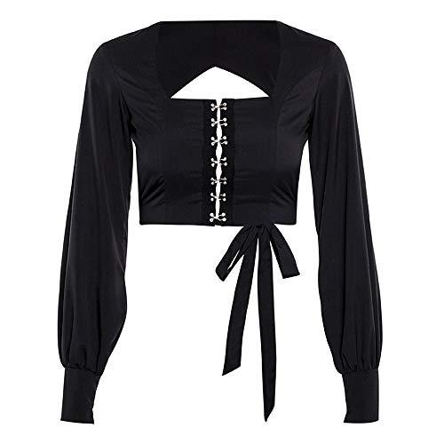 Mode Maniche Nero T Tops Ventre Femmine Waist Nuove Breve Lunghe A Shirt High DAMENGXIANG ZEwU8q