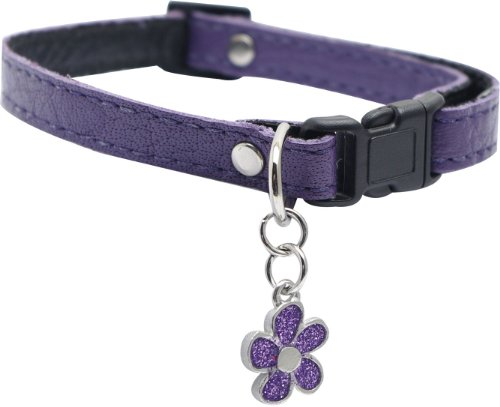 (Dogit Leather Style Adjustable Dog Collar with Buckle and Pewter Flower Charm, 9-14-Inch, Purple)