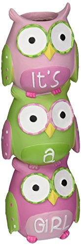 Whimsical Pink Owl Vase with ''It's A Girl'' Adorable Baby Shower or Nursery Decor by Burton & Burton