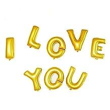 DealMux Foil I LOVE YOU Balloon Wedding Party Anniversary Celebration Decor 8 in 1 Gold Tone