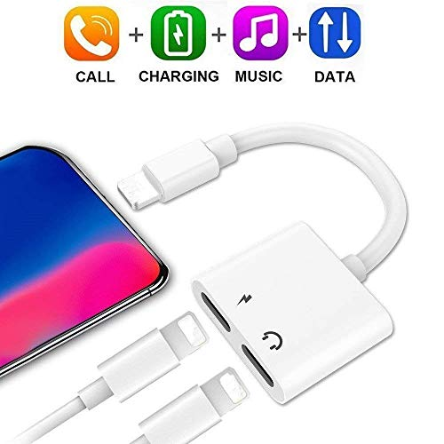 Splitter Charger & Headphones Jack Adapter for A Mobile Phone X / 8 8 Plus / 7 7 Plus, EXECCZO 2 in 1 Dual Functional Earphones Adapter Support Audio + Charge + Music Control + Phone Call (iOS 10.3)