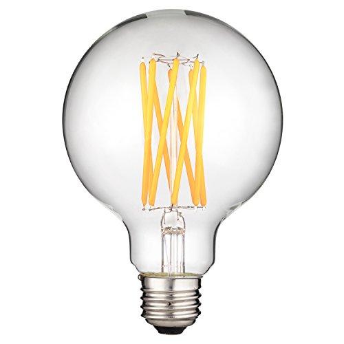 Fluorescent Compact 15000 Lamp Hour (Sunlite 80601 LED Filament G30 Globe 8 (100 Watt Equivalent) Clear Dimmable Light Bulb, Warm White)